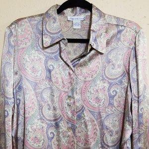 Anna and Frank Silk long sleeve paisley blouse